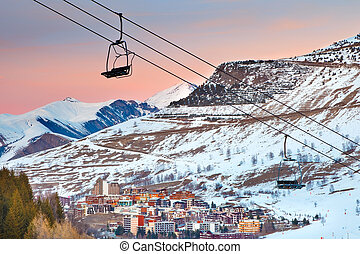 Ski resort in French Alps - Ski resort les deux alps in...