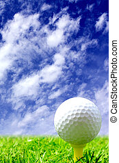Golf ball on the course - Close up of a golf ball in the...