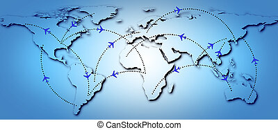 Flight Routes - Illustration of map of the world with...