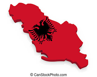 Map of Albania with flag Republic of Albania