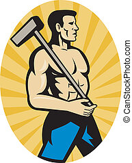 worker with sledge hammer side view - illustration of a...