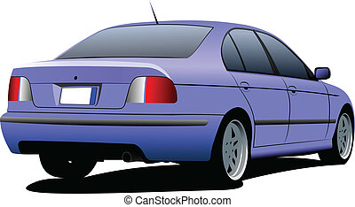 Blue sedan car on the road. Vector