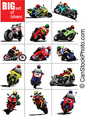 Big set of Bikers on the road Vector illustration