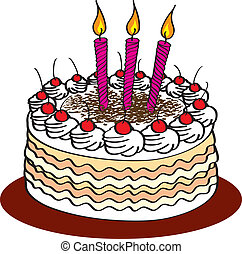 Cake - Stock Vector Illustration: Birthday cake and candle...