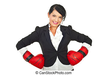 Happy businesswoman with boxing gloves - Happy business...