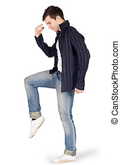 Young dancer over white background