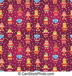cartoon xmas party animal seamless pattern
