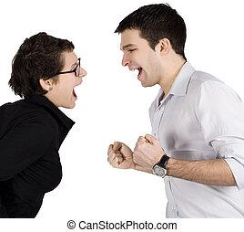 enojado, pareja, Gritar, otro, cada