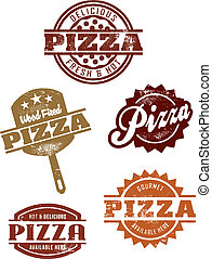 Gourmet Pizza Grpahics - A selection of vintage style...
