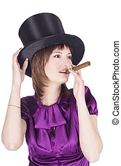 Brightly pictures of lovely girl in top hat (cylinder)