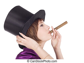 profile of lovely girl in top hat (cylinder) with cigar