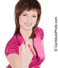 joven, mujer, actuación, medio, dedo, encima, blanco