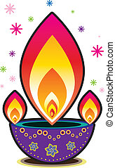 Oil lamp - Indian style graphic oil lamp design