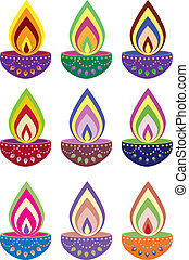 Oil lamp - Stock Vector Illustration: Indian pattern