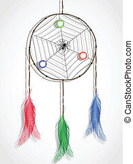 dream catcher against white background, abstract vector art...
