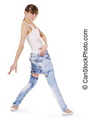Teenage girl dancing hip-hop isolated over white