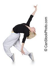 adolescente, niña, bailando, cadera-salto, encima,...