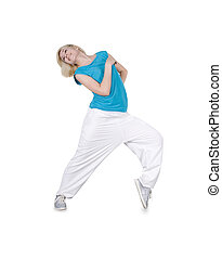 Teenage girl dancing hip-hop over white