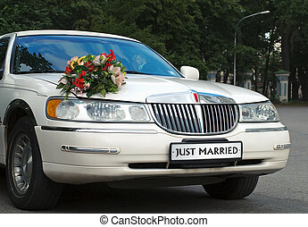 just married car - wedding white car with just married