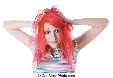 surprised cheerful girl with red hair