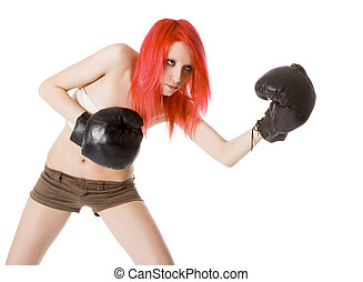 Red-hair girl kick boxer kicked in anger shouting