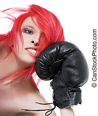Red-hair girl receives a knockout blow in the face of boxing...