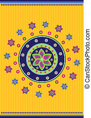 Tibet pattern - Stock Vector Illustration: Flower background