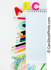 Education objects - Close-up of various objects needed in...