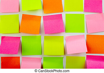 Colorful stickers - Image of colorful note papers stuck in...
