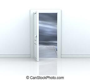 door to the unknown - one open door with a bridge toward a...