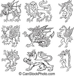 Heraldic monsters vol III - Vectorial pictograms of most...