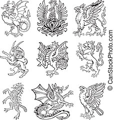 Heraldic monster vol II - Vectorial pictograms of most...