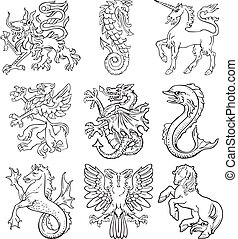 Heraldic monsters vol I - Vectorial pictograms of most...