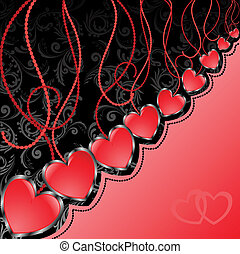 Black and red background with hearts