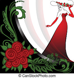 Woman in red and roses - woman in a long red dress in black...