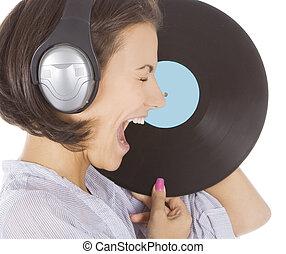 profilo, emotivo, brunetta, cuffie, vinile, disco, sopra,...
