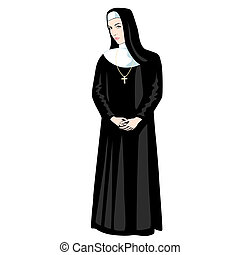 Nun with Cross - Nun in black with Cross
