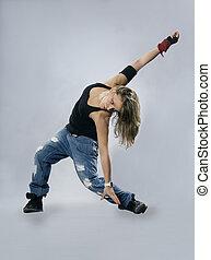 adolescente, niña, bailando, breakdance,...