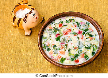 Summer cold soup - Russian summer cold vegetable soup on...