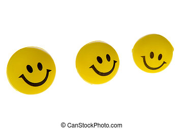 Yellow smilies - Yellow balls with smilies isolated over...