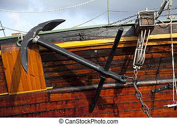 Anchor on a ship