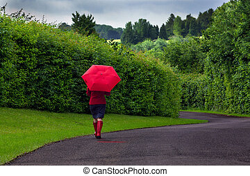 Woman with red umbrella on an overcast day. - Photo of a...