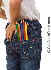 Child with color pencils in back pocket