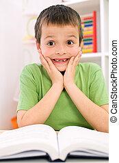 poco, niño, forgot, lectura, -, espalda, escuela,...
