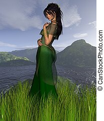 Celtic Princess with Mountain backg - Dark-haired Celtic...