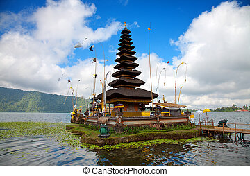 Pura Ulun Danu temple Bali - Pura Ulun Danu temple on lake,...