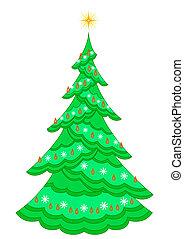Christmas fir-tree with garland
