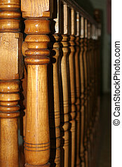 banisters wooden stairway