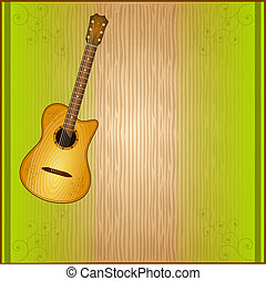 abstract music grunge background with acoustic guitar on dark