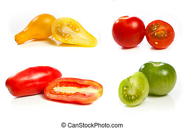 High resolution collage of four variety of tomato against a...